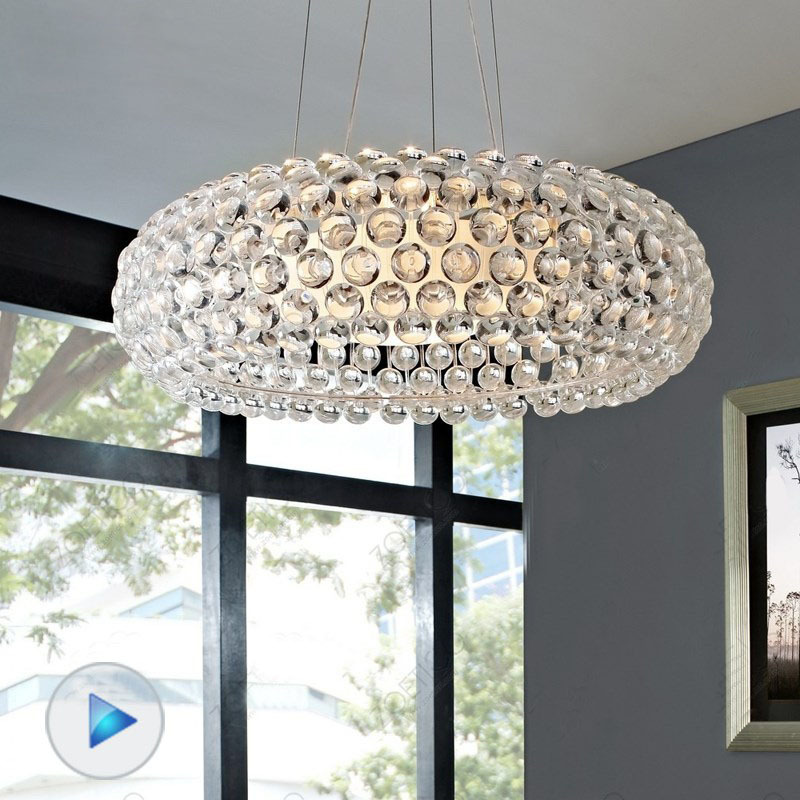 modern crystal pendant light cabo ball suspension romanitic italian crystal lighting fixture for dinning room