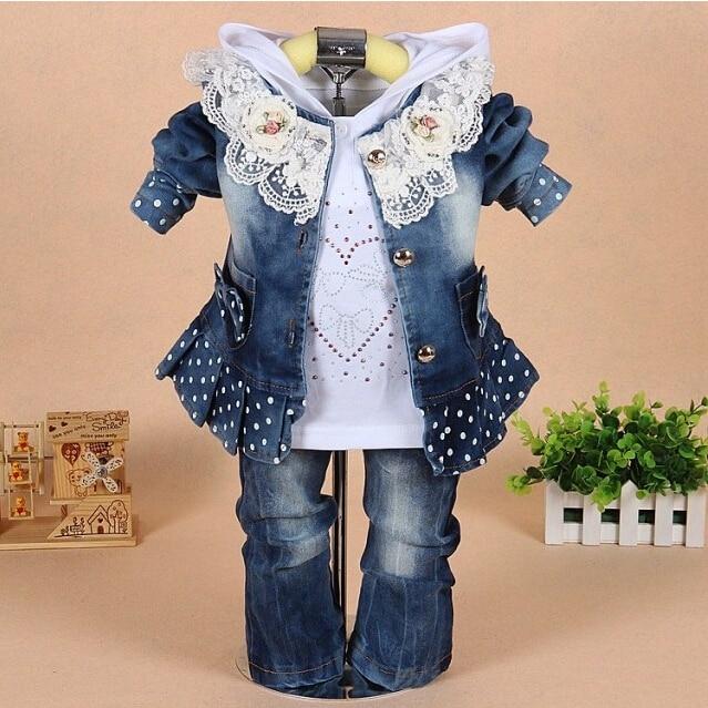 [LOONGBOB] 2014 children clothing set baby Girls fashion Lace denim 3pcs set top coat outerwear + Shirts+ Pant denim suit 094C