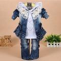 [LOONGBOB] 2014 ropa niños bebés fijados moda de Encaje denim 3 unids set capa superior prendas de vestir exteriores + Camiseta + Pantalón de mezclilla traje 094C