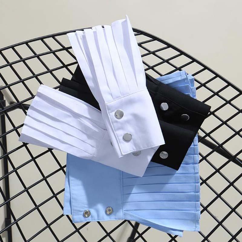 Korean 2019 New Elegant Button Solid Arm Warm Women Gloves Accessories Black White Female Cuff Fake Arm Sleeves