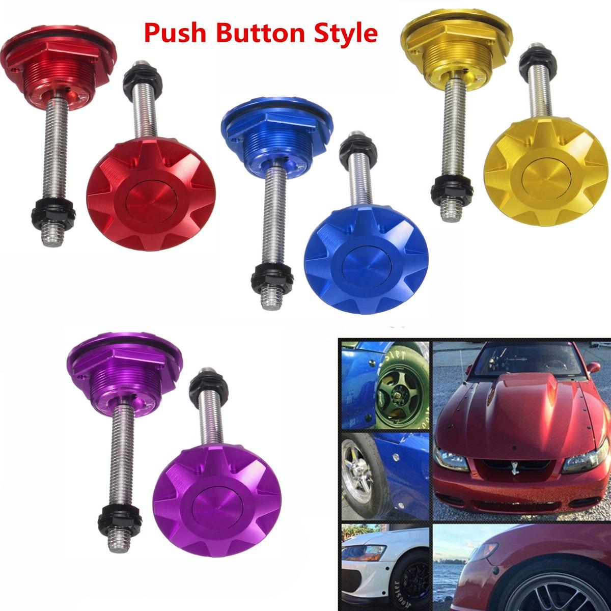 Pair Universal Push Button Quick Release Hood Pins Bonnet Lock Clip Latch kit