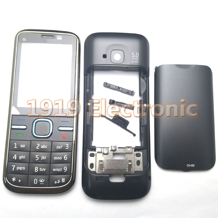 Case Black Nokia C5 C5-00 Mobile-Phone-Housing-Cover New Keypad Or Russian English Arabic