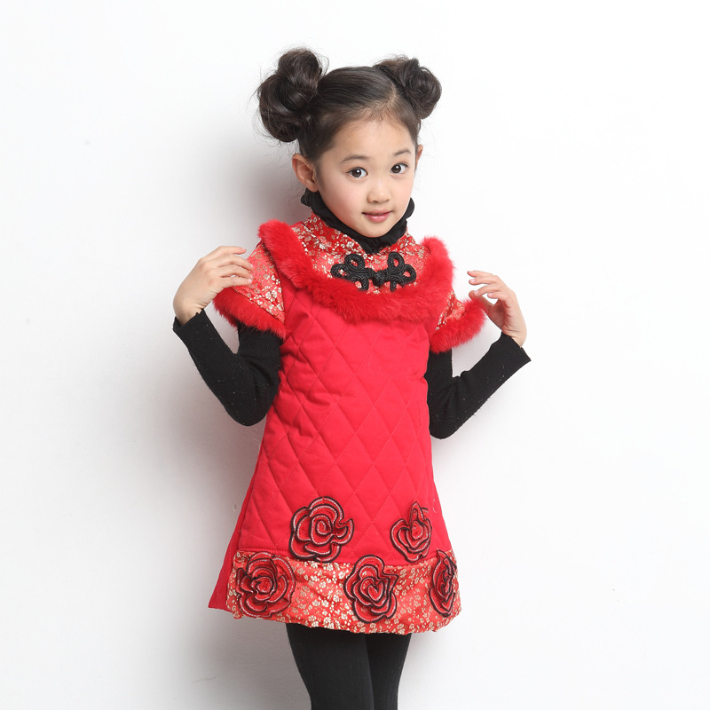 New year dress for girls Winter dress Plus Thick Velvet chinese clothes party dress 10 age girl a-line dresses floral costumes 2017 winter new girl s treasure knit sleeve sweater plus velvet thick floral ladies fake two pieces of dress