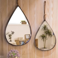 Metal framed antique wall mirror glass water drop console mirror wall decorative mirrored art W I2102