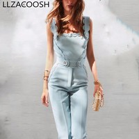 Suspenders Jumpsuits Female Sexy Backless High Waist Long Wide Leg Pant For Women 2018 Summer Fashion New OL Jumpsuit