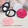 Flor doble cara espejo de maquillaje mini bolsillo cosméticos espejos compactos espelho de maquiagem espejos de bolsillo