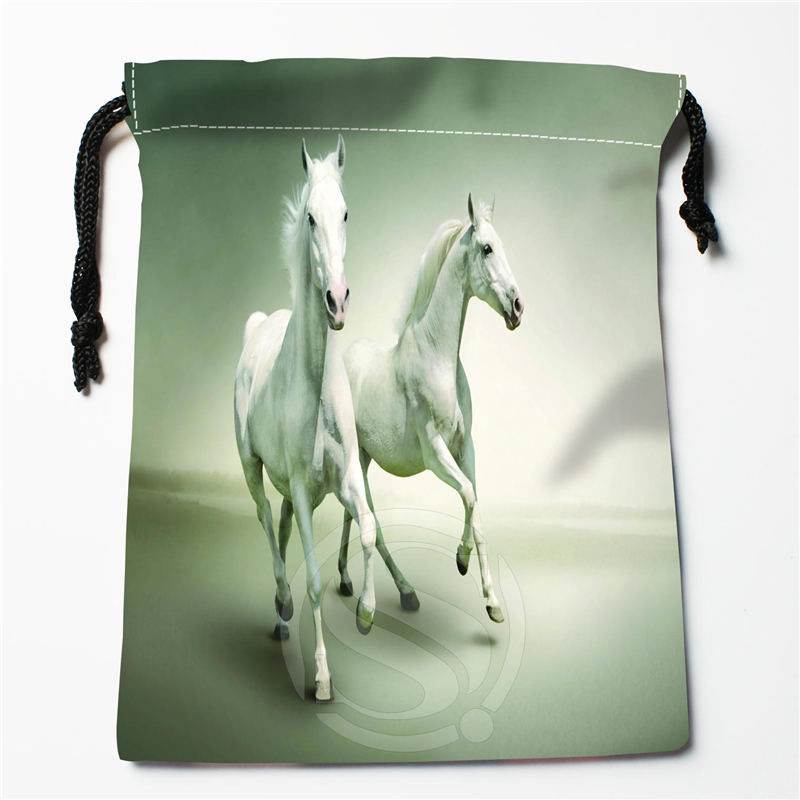 U-3 New Beautiful White Horses Custom Logo Printed  Receive Bag  Bag Compression Type Drawstring Bags Size 18X22cm U801!!e3
