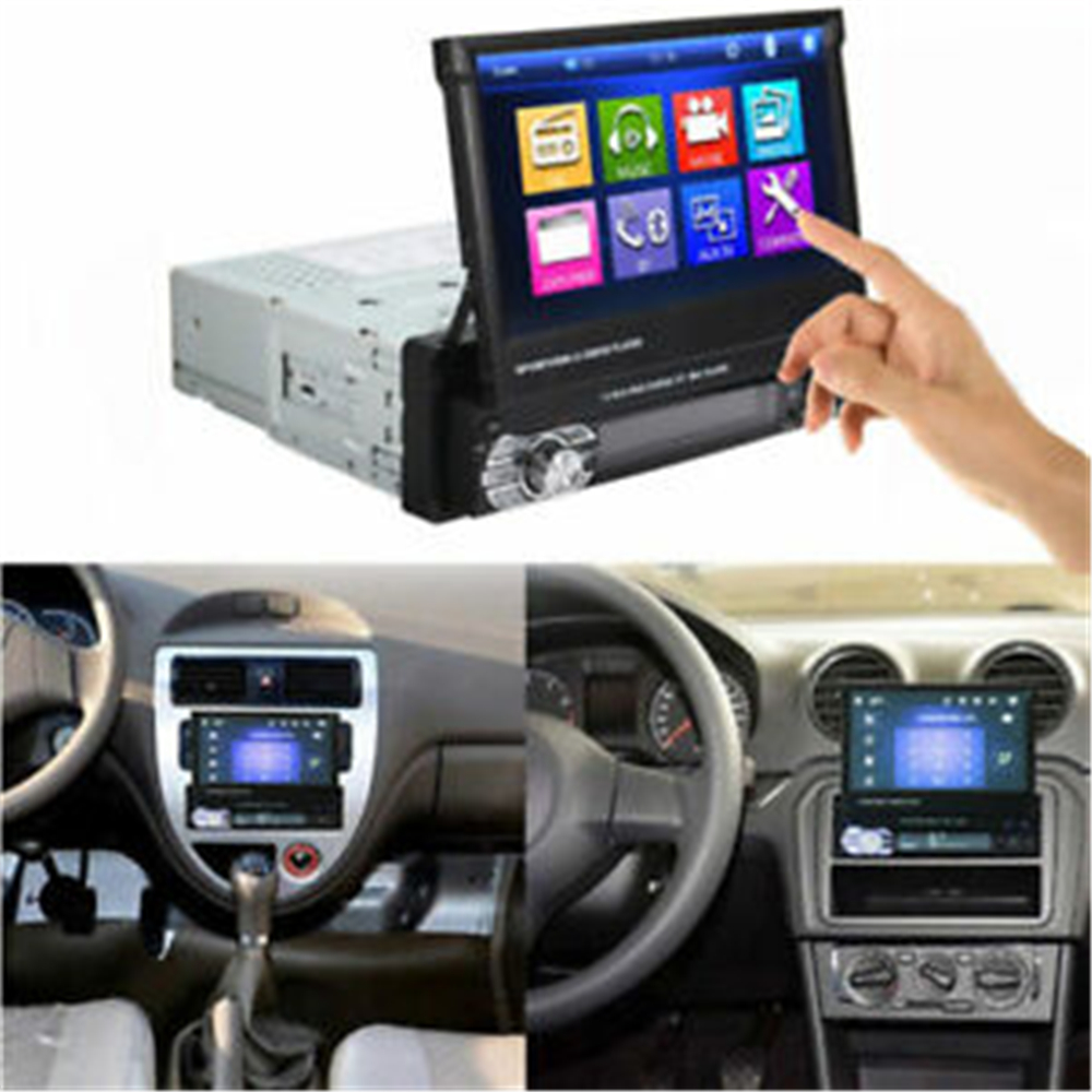 Podofo 1din Car Radio GPS Navigation 7 HD Retractable Screen MP5 Player Bluetooth Stereo Mirror Link Autoradio Rear View Camera - 6