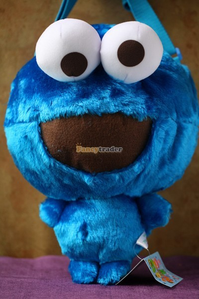 Fancytrader 15\'\' 36cm Copyrighted Plush Stuffed Cookie Monster Shoulder Bag, Free Shipping FT90380 (1)