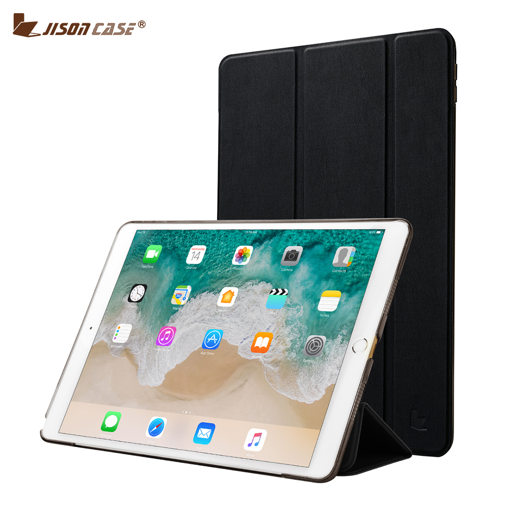 Jisoncase Smart Cover for iPad Pro 10.5 2017 Case PU Leather + PC Transparent Flip Smart Tablet Case for New iPad Pro 10.5 Cover nice soft silicone back magnetic smart pu leather case for apple 2017 ipad air 1 cover new slim thin flip tpu protective case