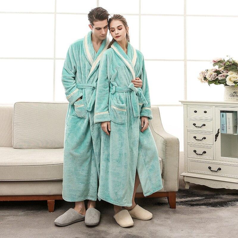 Plus Size Women Bathrobe 2019 New Dressing Gown Silk Lingerie Robe Couple Nightgown Men Solid Color Flannel Bathrobe
