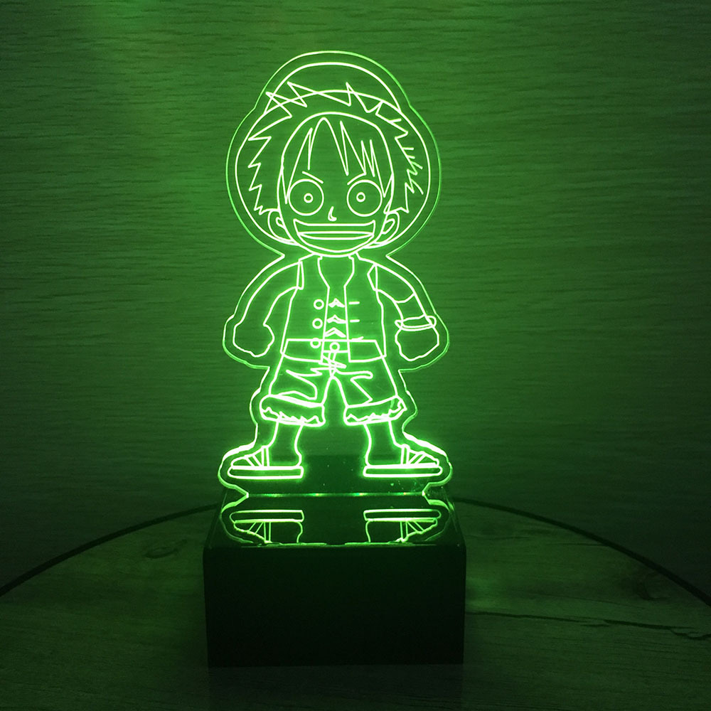 Figura de acción de una pieza Luffy 3D Led Table Night Light Colorido acrílico USB LED Iluminación LED Lámpara Creativa Figura de acción Juguete