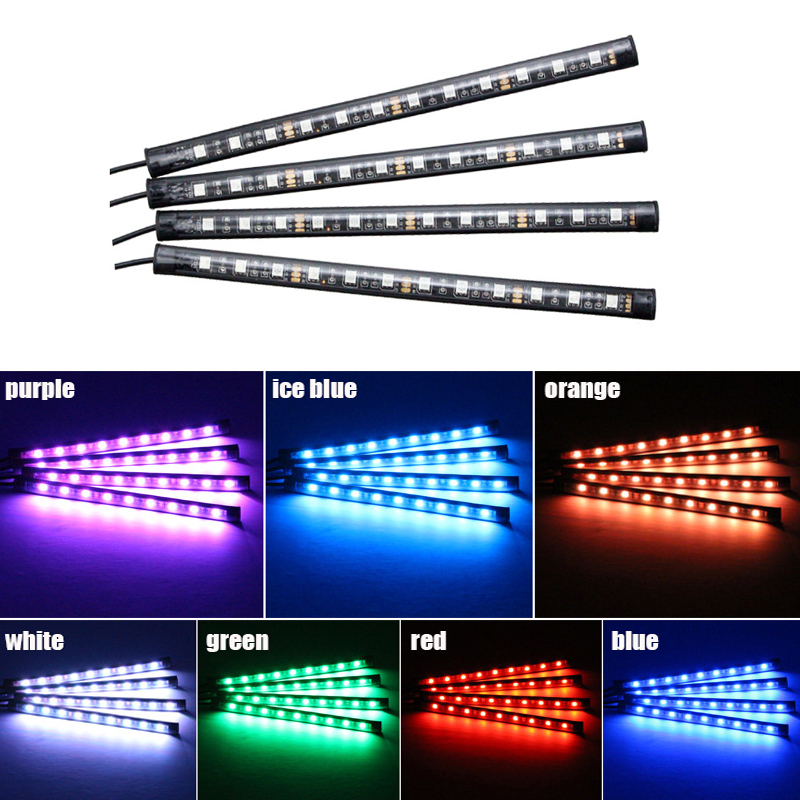 4 pcs car interior accessories car rgb led drl strip light - Automotive interior led light strips ...