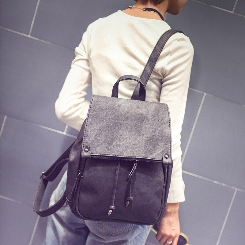 ФОТО new korean style fashion women backpack solid color PU leather fresh shoulders bag casual belt schoolbag