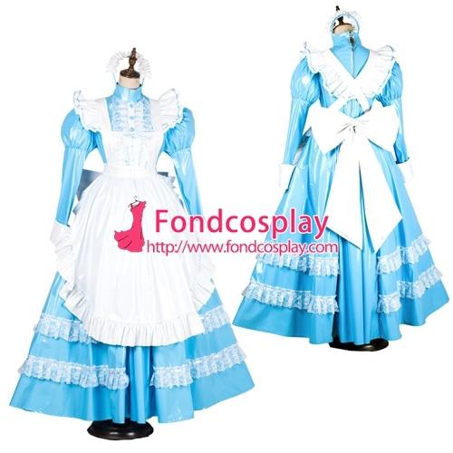 lockable Sissy maid PVC vinyl long dress Uniform cosplay costume Tailor made G1805