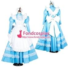 Запираемый Сисси горничной виниловые длинное платье форма карнавальный костюм Сделанные на заказ [G1805]