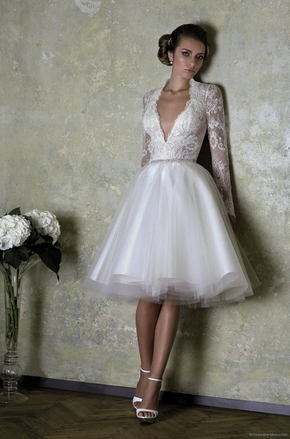 Deep V neck Sexy Low Cut See Through Back Sexy Lace Short Tulle Wedding Dress  Long Sleeves Bridal Dresses 9e0f31293