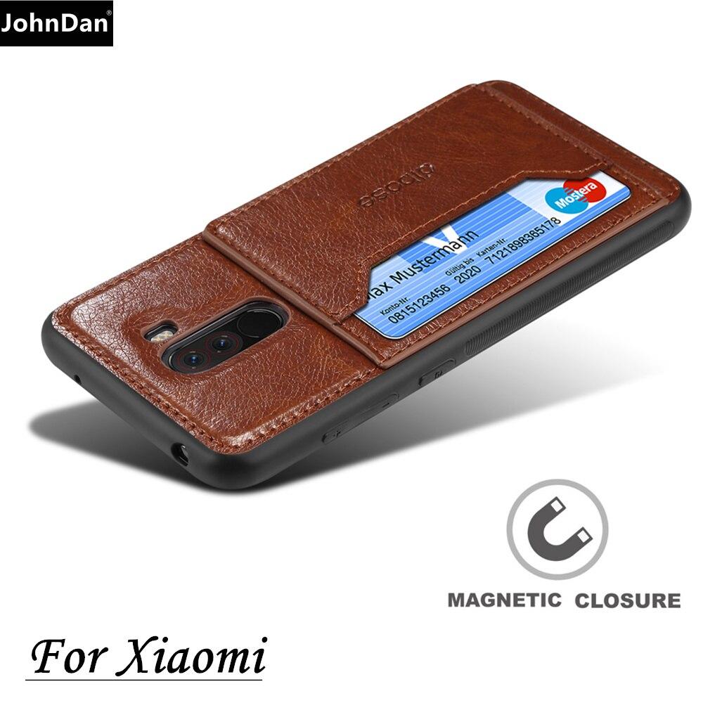 the best attitude 8b4ae 64e21 For Xiaomi PocoPhone F1 PU Leather + Silicone Anti Slip Grip Magnet Stand  Card Slot Case For Xiao Mi Poco F1 Back Cover Cases
