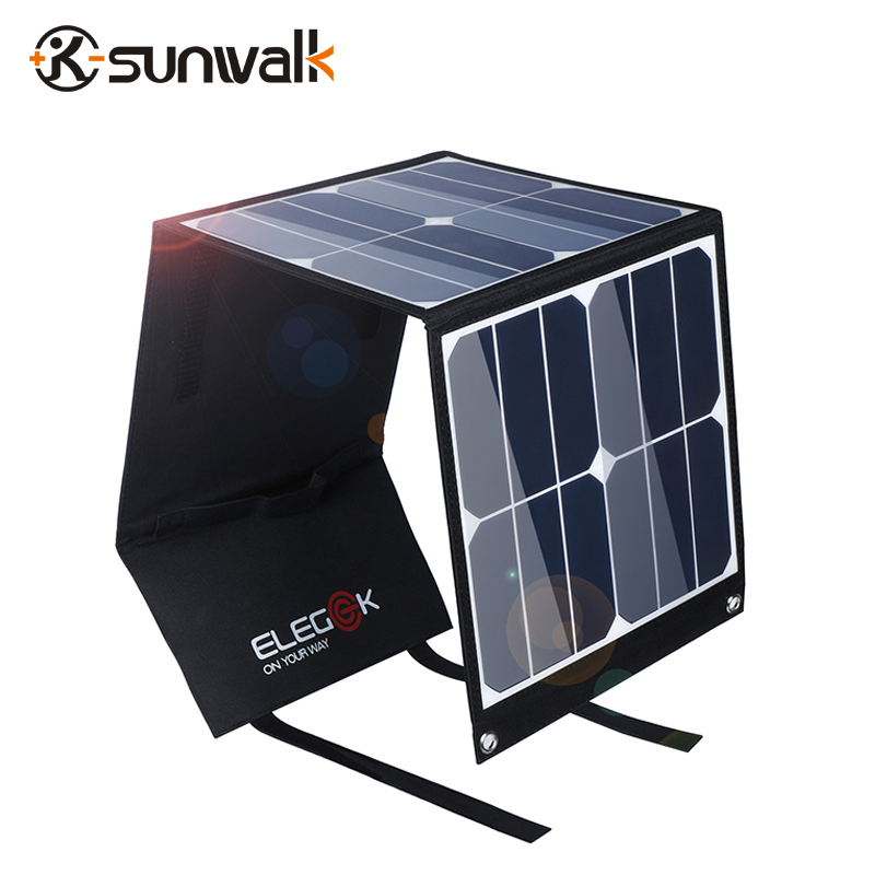 SUNWALK ELEGEEK 40W SUNPOWER Portable Solar Panel Charger 5V 18V Output Solar Battery Charger Power for iPhone iPad Laptop portable outdoor 18v 30w portable smart solar power panel car rv boat battery bank charger universal w clip outdoor tool camping