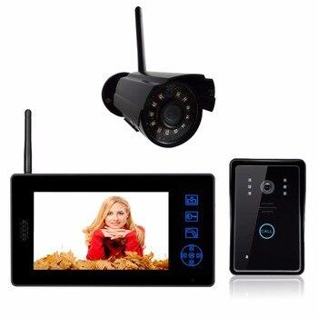 """Wireless video intercom türklingel kamera 7 """"TFT Touch Schlüssel Farbe Video Tür Telefon IR Nacht Version cctv kamera sicherheit system kit"""