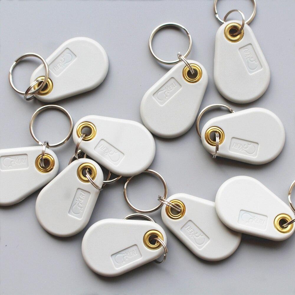 125 Khz T5577 RFID EM legible y grabable tarjeta de Control de acceso etiquetas llavero 10 unids/lote
