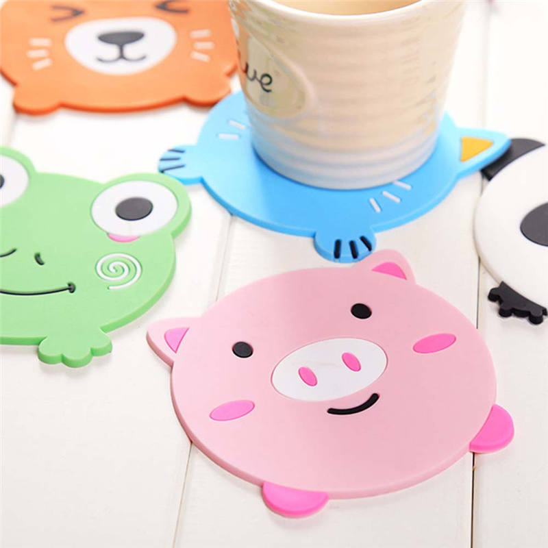 BPA Free Cute Cartoon Pig Frog Panda Cat Fox Coasters Cup Mat Dining Table Placemat Coaster Coffee Cup Bar Mug Drink Pads