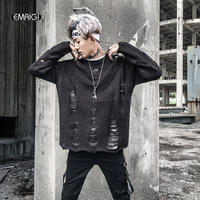 Autumn New Vintage Fashion Men Broken Hole Sweater High Quality Hip Hop Loose Male Pullover Knitted