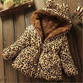 2016 New winter children's girls Leopard Down coat thickening cotton baby jacket cotton sheepskin warm leopard children's jacket