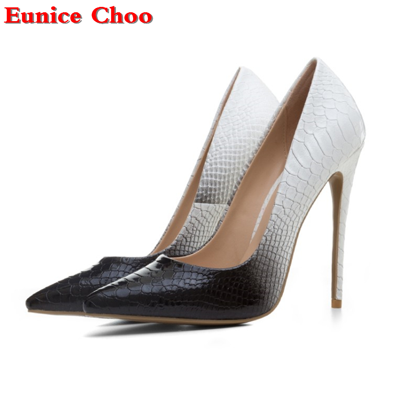 Eunice Choo 2018 Snakeskin Print Thin High Heels Wedding Shoes Women  Stiletto Pumps Womens Shoes Heels 98c448215d3c