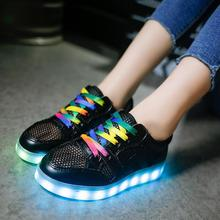 Eur size 35-40 new Summer mesh breathable shoes for children boys girls Led luminous Shoes casual kids sport shoes 4 colors