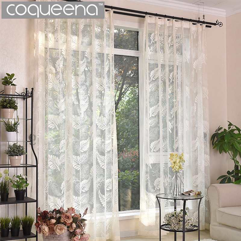 Leaves Design White Embroidered Sheer Curtains Kitchen