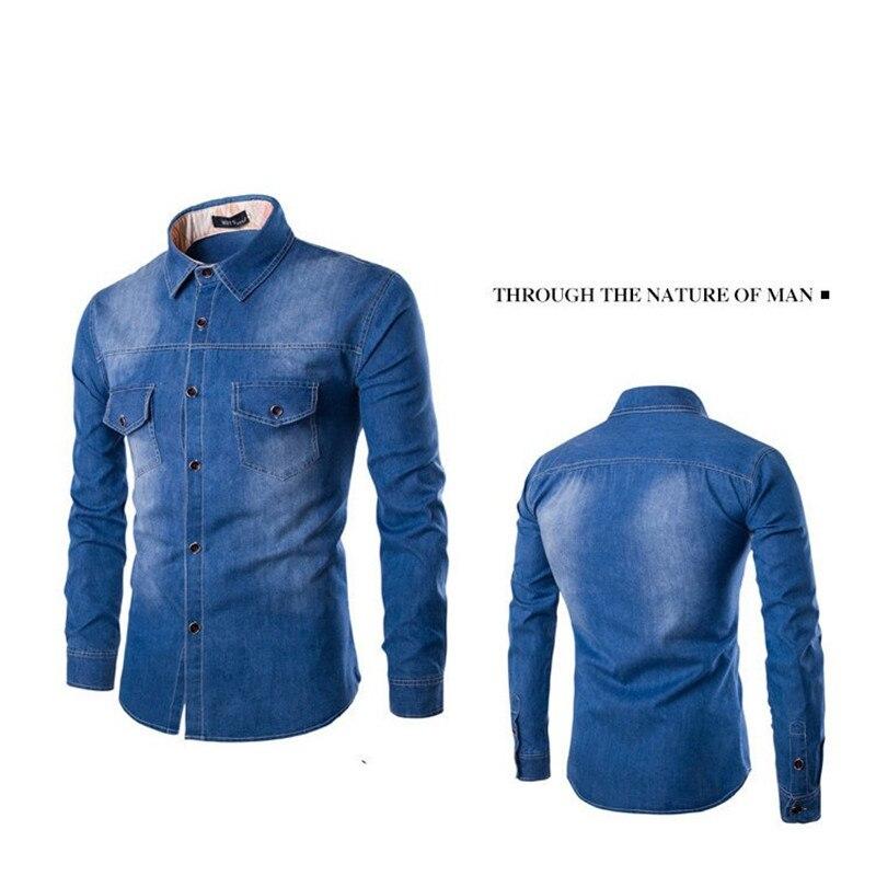 Fashion Mens Denim Shirt Long Sleeve Plus Size Cotton Jeans Cardigan Casual Slim Fit Shirts Men Two-pocket Tops Clothing M-6XL 4