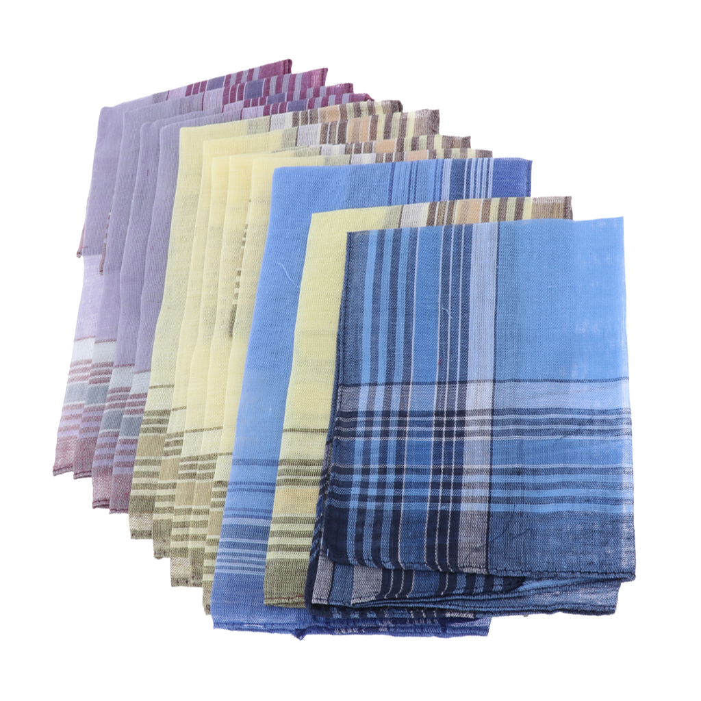 Set Of 12pcs Men's Plaid Pattern Cotton Handkerchiefs Gentleman Classic Pocket Square Hanky
