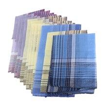 Set of 12pcs Men's Plaid Pattern Cotton Handkerchiefs Gentleman Classic Pocket Square Hanky