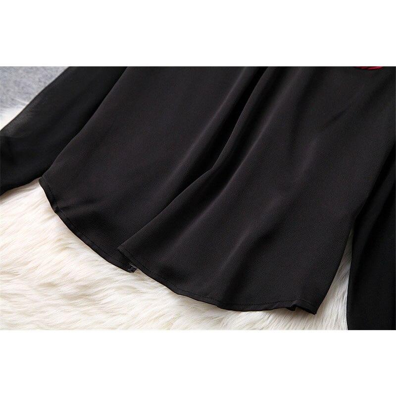Bow Deux Pièces Longues Dame Ensemble À Costume Printemps 2019 Chemise Marque Femmes Manches Noir Designer Mode Aline Tenue Tie Top Jupe wEAqtS7
