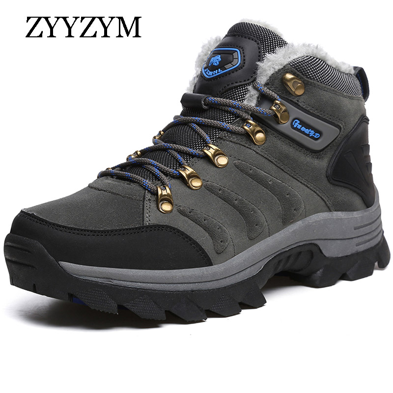 ZYYZYM Boots Men Super Warm Mens Winter Quality Snow Fur Plush Lace Up Outdoor military boots Shoes Plus Size