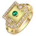 Homens anel verde branco cz dedo jóias de moda de nova grande praça tamanho 6-9 dom homem dedo o Anel De Noivado para os homens