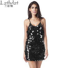Brand New Summer Mini Dress sequin sundress Backless luxury slip dress sexy party short dress women dress vestidoCamisole