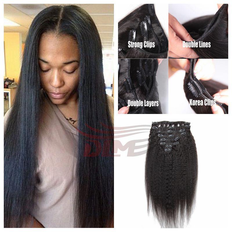 7Pcs 100g Italian Coarse Yaki Clip In Hair Extensions Natural Black Virgin Peruvian Hair