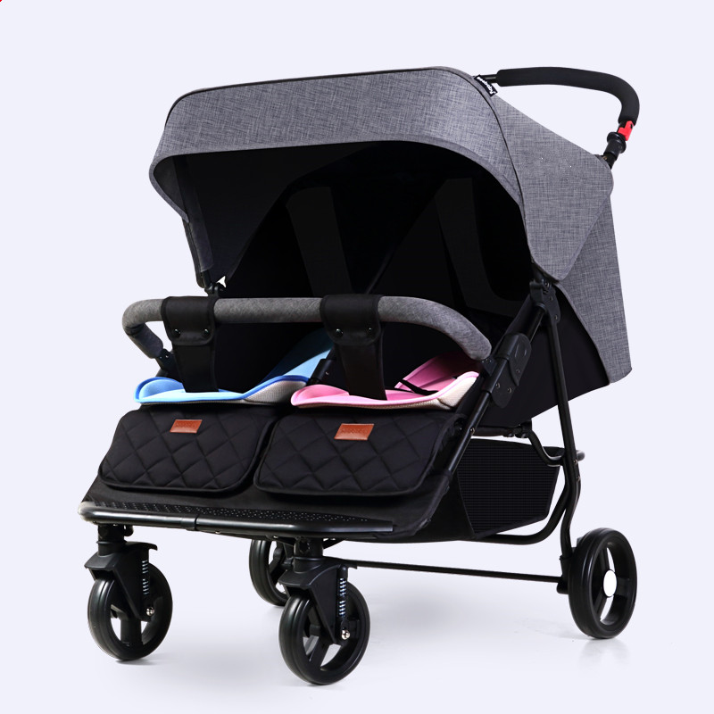 Фото fold twins stroller for 0-4ages kids, can sit can lie twins stroller, four wheels chock absorption twins carriage, portable cart