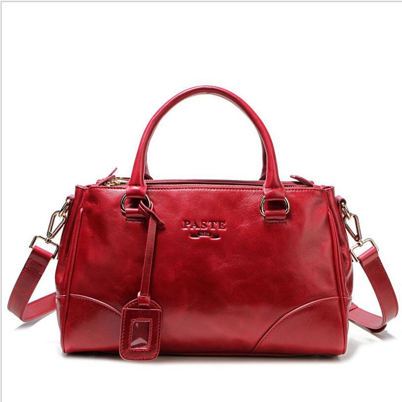 где купить 100% Oil Waxing Genuine Leather Women Handbag 2018 Female Cowhide Tote Shoulder Bags Casual Messenger Bag For Female PT07 дешево