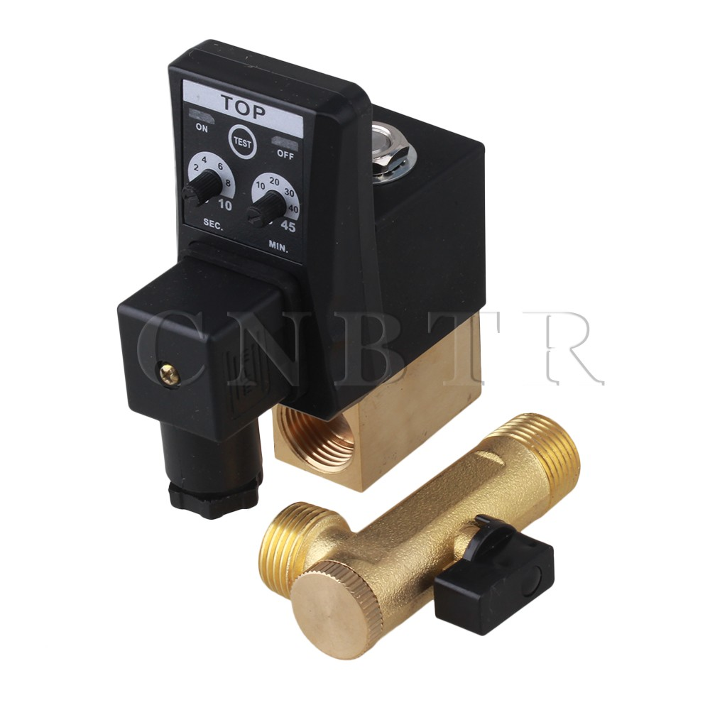 CNBTR AC220V 1/2 Electronic Timed Air Compressor Automatic 2-way Drain Valve best nr 0200 2 way electronic auto timer compressor drain valve 220v ac 1 2 orifice 3mm brass flow drainer