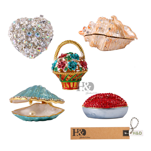 Mini Figurine Trinket Boxes Ornament Crystals Hand painted Patterns