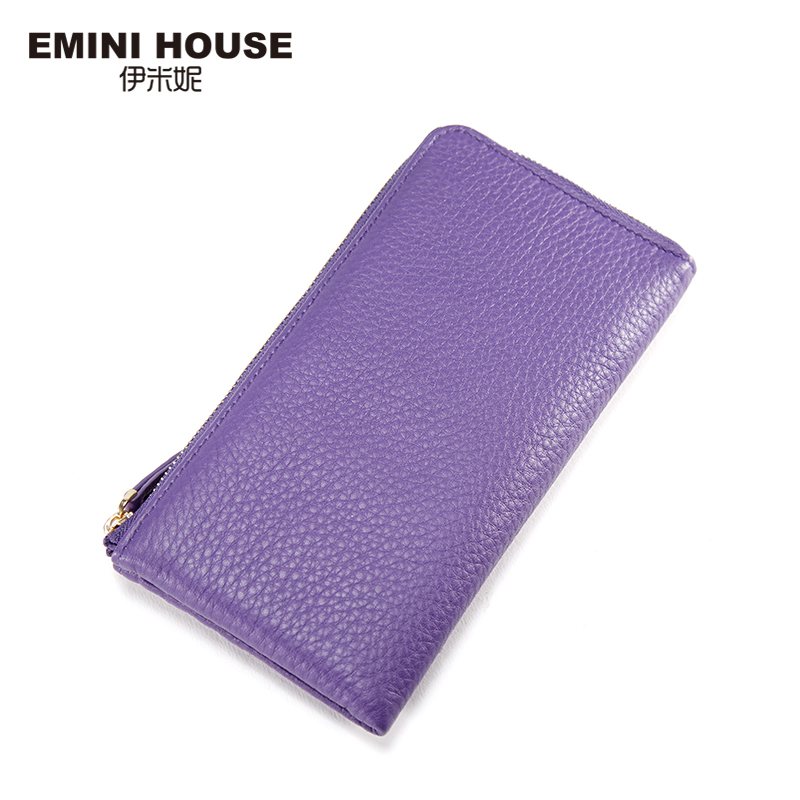 EMINI HOUSE Genuine Leather Wallet Women Soft Cow Leather Long Wallet Retro Style Multifunction Travel Wallets Zipper Cion Purse