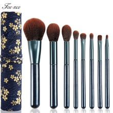 8pcs/set Blue Glitter Makeup Brushes Set Soft Synthetic Hair Foundation Powder Eyeshadow Make Up Brush Kit With Brushes Case Bag