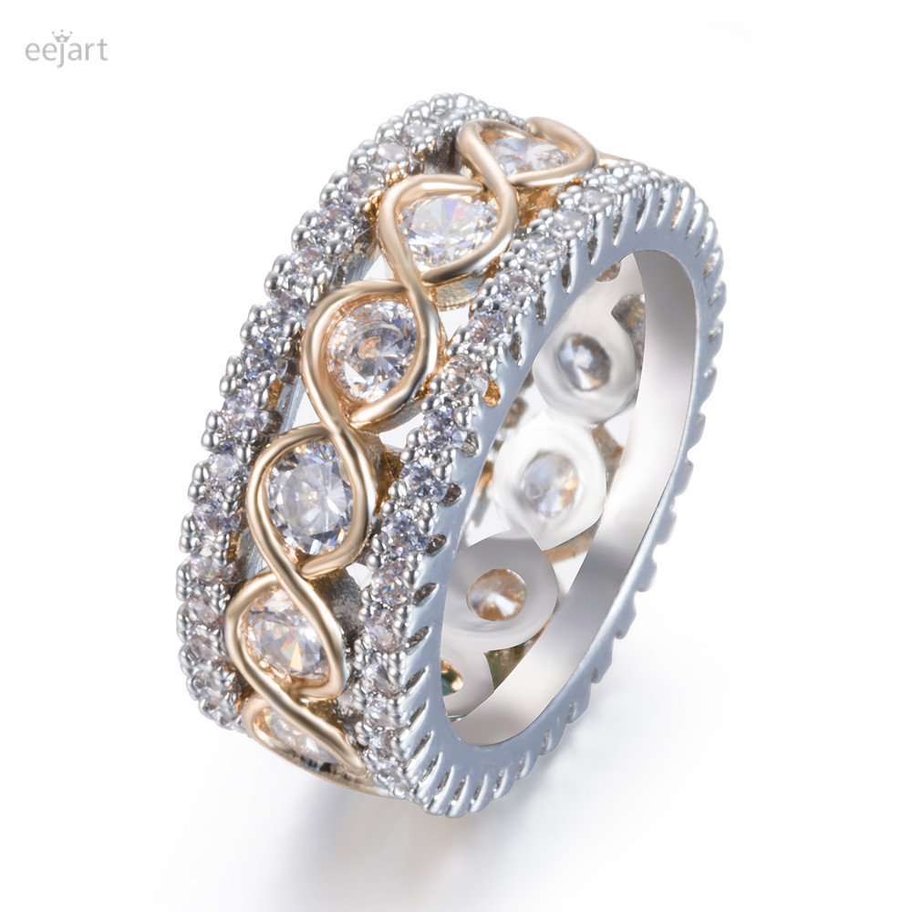 eejart Fashion Full Crystal Big Wedding Rings For Women Romantic Gold Color Ring ...