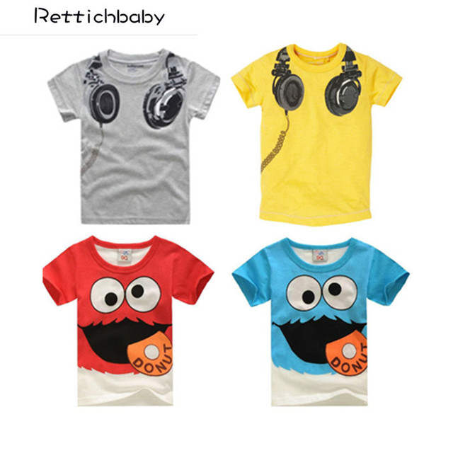 Hot Sale New Headphone Design T shirt Boys Kids Short Sleeve Tops T-shirt Tees 100% Cotton Free shipping