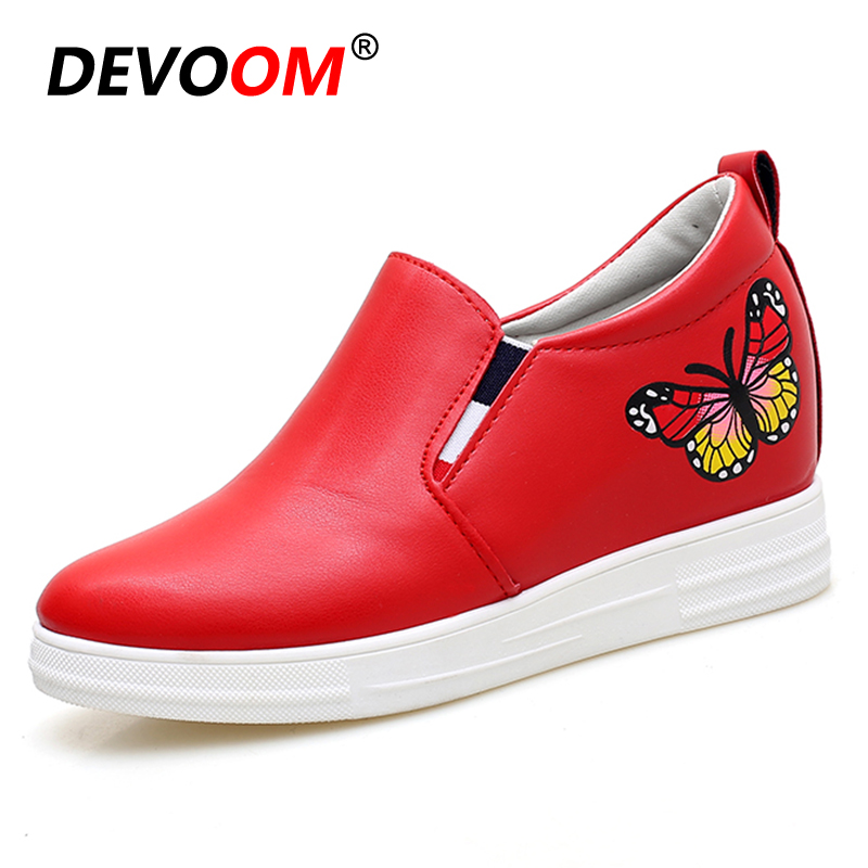 Summer Breathable Shoes Women Casual PU Elevator Shoes Inside Wedges 7cm High Platform Female Butterfly Red Shoes Pumps Heel