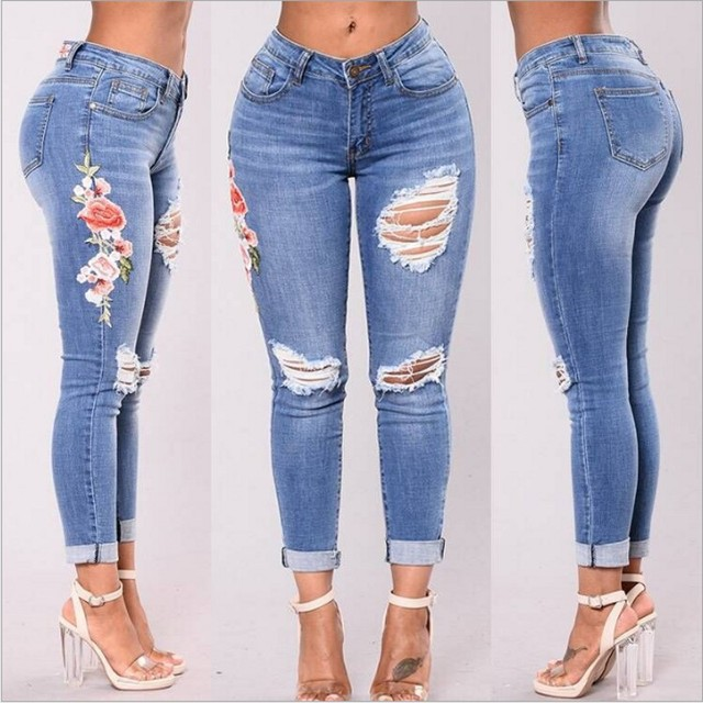 2d146fbae € 28.8 |Moda Casual de Mujer de Marca Vintage de Cintura Alta Vaqueros  Ajustados Denim Slim Jeans Rasgados Agujero Sexy Pantalones Niñas  Pantalones ...