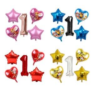Image 1 - 5pcs ורוד שמיים מרדף PAW סיירת שחור עלה זהב לב לסכל בלוני מספר מסיבת יום הולדת דקור הליום Globos צעצועים תינוק מקלחת